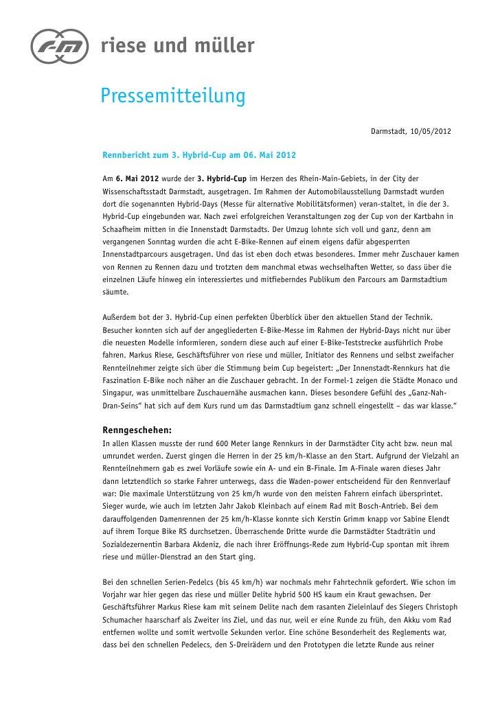 Pressemitteilung                                                                             Darmstadt, 10/05/2012Rennberi...