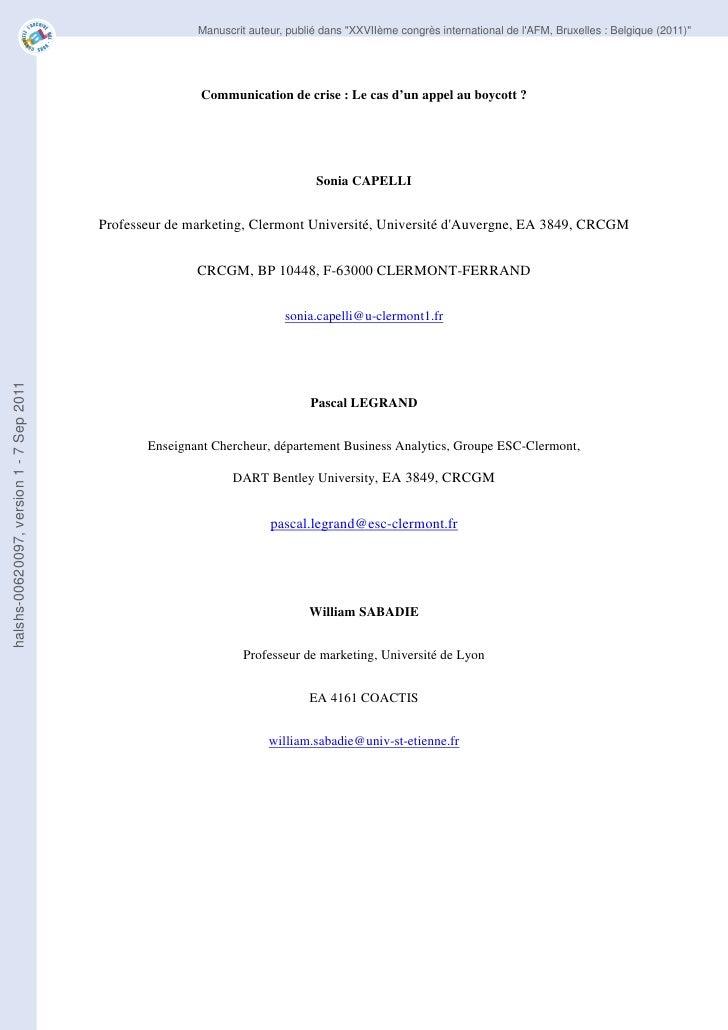 """Manuscrit auteur, publié dans """"XXVIIème congrès international de lAFM, Bruxelles : Belgique (2011)""""                       ..."""