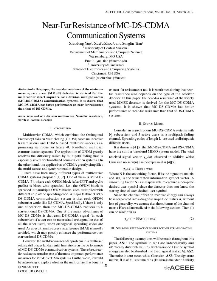 ACEEE Int. J. on Communications, Vol. 03, No. 01, March 2012                 Near-Far Resistance of MC-DS-CDMA            ...