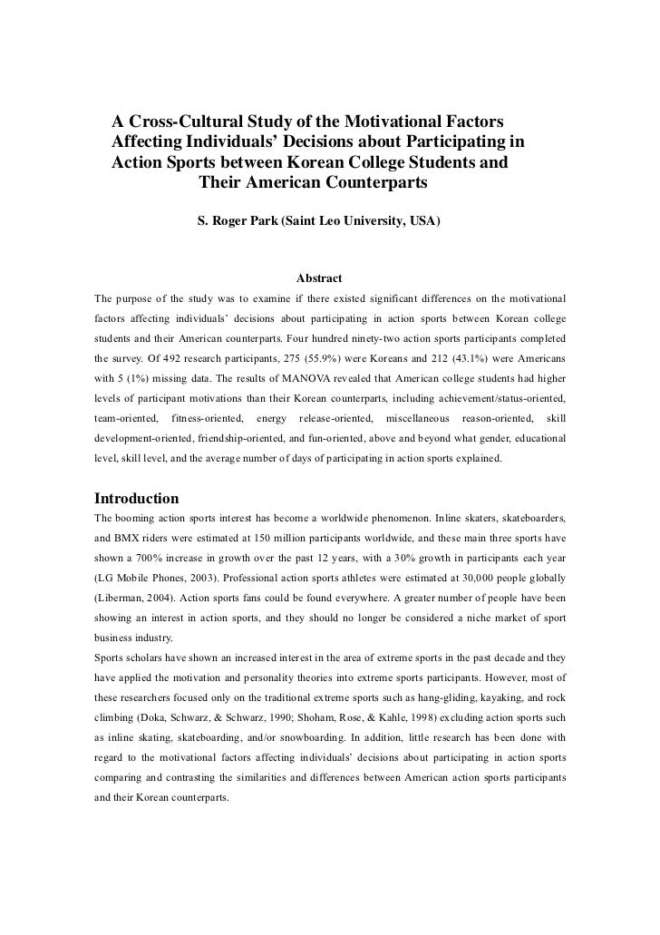 A Cross-Cultural Study of the Motivational Factors    Affecting Individuals' Decisions about Participating in    Action Sp...