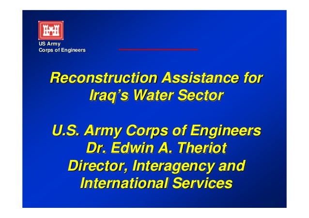 US ArmyCorps of Engineers    Reconstruction Assistance for        Iraq's Water Sector        Iraq's    U.S. Army Corps of ...