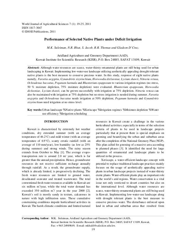 World Journal of Agricultural Sciences 7 (1): 19-25, 2011ISSN 1817-3047© IDOSI Publications, 2011                   Perfor...