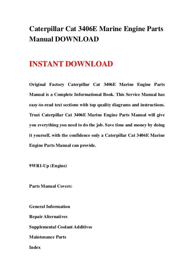 Caterpillar Cat E Marine Engine Parts Manual Download