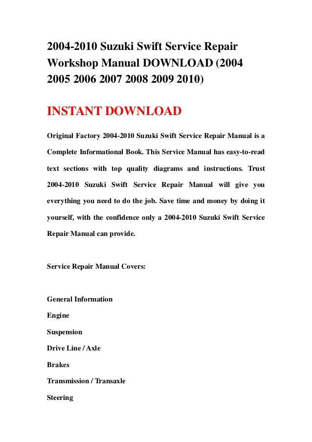 2004 2010 suzuki swift service repair workshop manual download 2004 rh slideshare net 2007 suzuki rm250 service manual suzuki swift 2007 service manual
