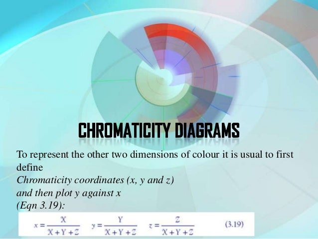 To represent the other two dimensions of colour it is usual to firstdefineChromaticity coordinates (x, y and z)and then pl...