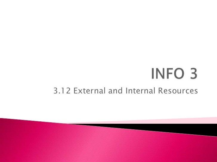 3.12 External and Internal Resources
