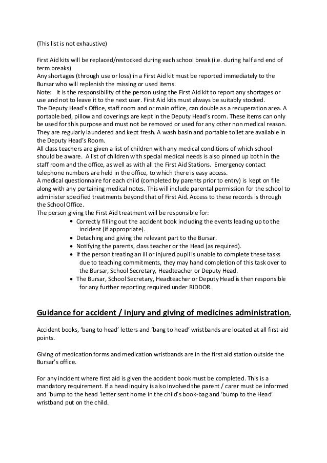 Mead School first aid and medication policy