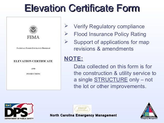 flood insurance: elevation certificate for flood insurance