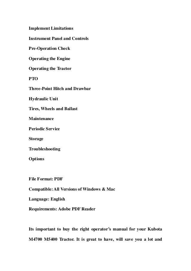 kubota m4700 m5400 tractor operator manual download rh slideshare net kubota m4700 manual pdf kubota m4700 manual pdf