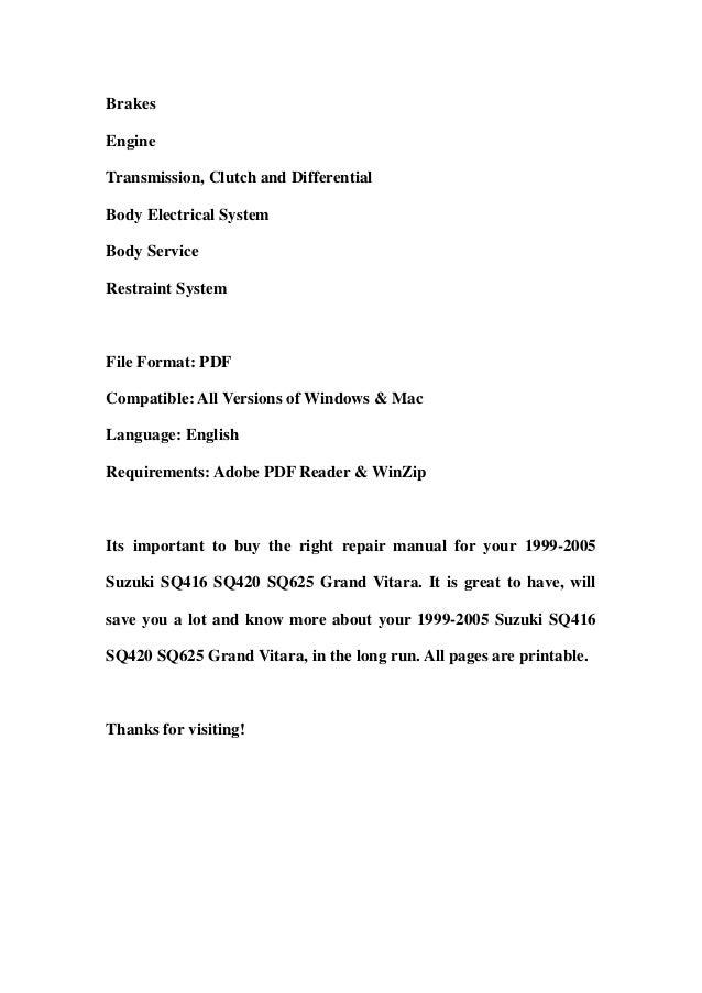 2000 suzuki grand vitara service manual pdf