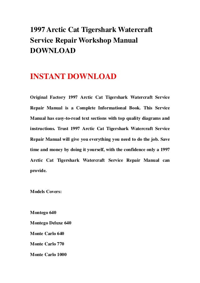 Tiger Shark Montego Manual User Guide Manual That Easy To Read