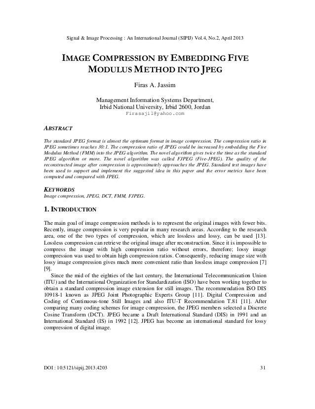 Signal & Image Processing : An International Journal (SIPIJ) Vol.4, No.2, April 2013DOI : 10.5121/sipij.2013.4203 31IMAGE ...