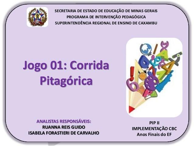 Jogo 01: Corrida Pitagórica PIP II IMPLEMENTAÇÃO CBC Anos Finais do EF SECRETARIA DE ESTADO DE EDUCAÇÃO DE MINAS GERAIS PR...
