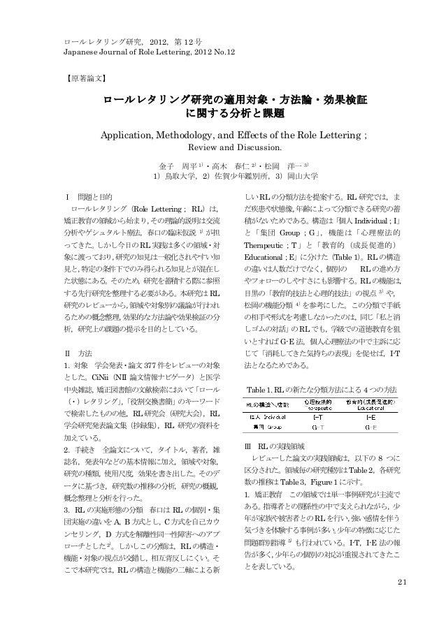 ロールレタリング研究,2012,第 12 号 Japanese Journal of Role Lettering, 2012 No.12 21 【原著論文】 ロールレタリング研究の適用対象・方法論・効果検証 に関する分析と課題 Applica...