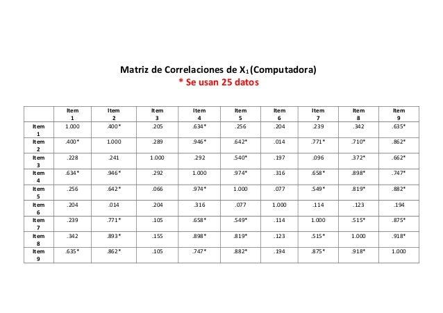 Matriz de Correlaciones de X1 (Computadora) * Se usan 25 datos Item 1 Item 2 Item 3 Item 4 Item 5 Item 6 Item 7 Item 8 Ite...