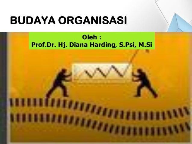 BUDAYA ORGANISASI Oleh : Prof.Dr. Hj. Diana Harding, S.Psi, M.Si