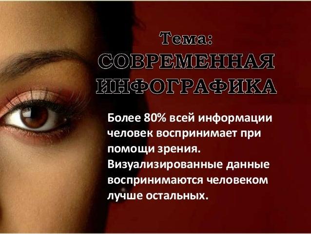 Более 80% всей информации человек воспринимает при помощи зрения. Визуализированные данные воспринимаются человеком лучше ...