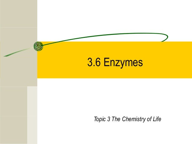 3.6 Enzymes Topic 3 The Chemistry of Life