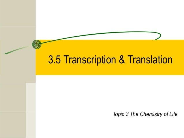 3.5 Transcription & Translation Topic 3 The Chemistry of Life