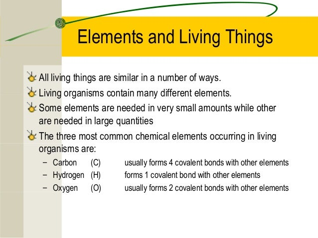 Elements And Living Things