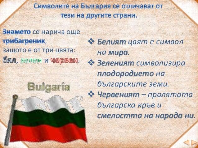 Как още назоваваме родината си? отечество татковина България Символите на Република България са: знаме, химн, роза знаме, ...