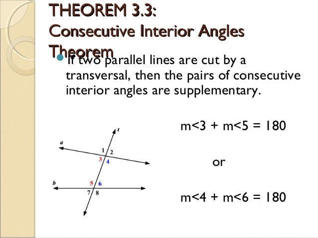 ... 7. THEOREM 3.3:THEOREM 3.3: Consecutive Interior AnglesConsecutive Interior  Angles ...