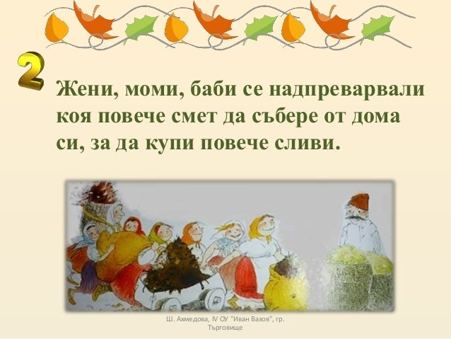 """Жени, моми, баби се надпреварвали коя повече смет да събере от дома си, за да купи повече сливи. Ш. Ахмедова, IV ОУ """"Иван ..."""