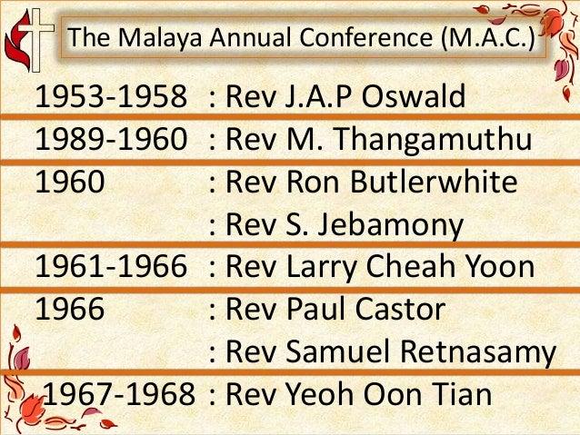 1953-1958 : Rev J.A.P Oswald 1989-1960 : Rev M. Thangamuthu 1960 : Rev Ron Butlerwhite : Rev S. Jebamony 1961-1966 : Rev L...