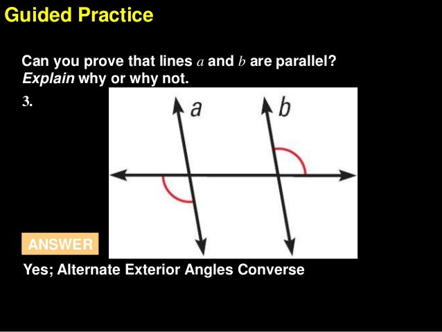 3 3 prove lines are parallel - Alternate exterior angles converse ...