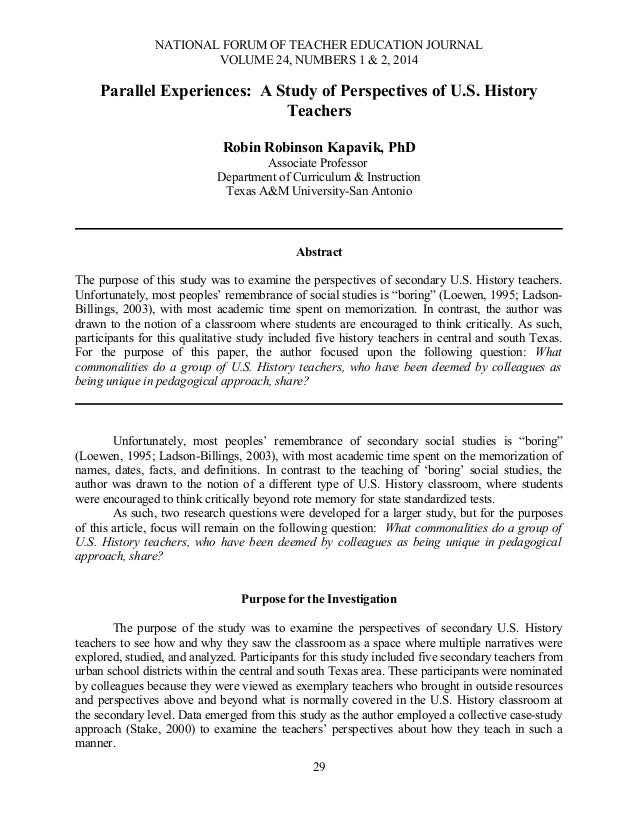 NATIONAL FORUM OF TEACHER EDUCATION JOURNAL VOLUME 24, NUMBERS 1 & 2, 2014  Parallel Experiences: A Study of Perspectives ...