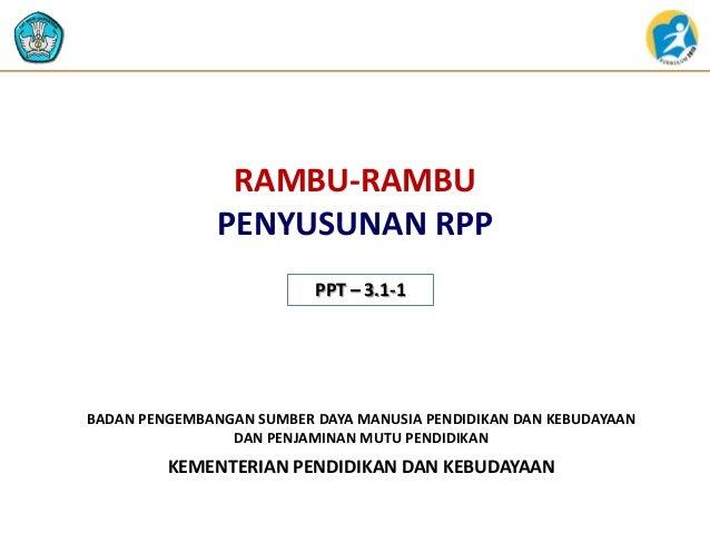 RAMBU-RAMBU PENYUSUNAN RPP PPT – 3.1-1  BADAN PENGEMBANGAN SUMBER DAYA MANUSIA PENDIDIKAN DAN KEBUDAYAAN DAN PENJAMINAN MU...