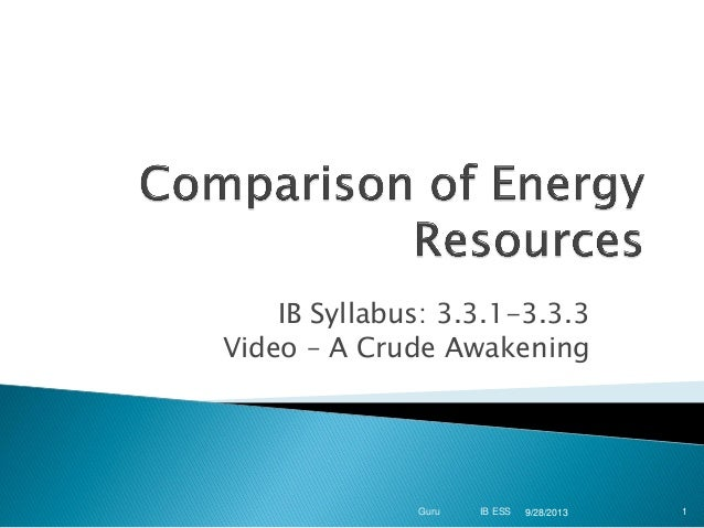 IB Syllabus: 3.3.1-3.3.3 Video – A Crude Awakening  Guru  IB ESS  9/28/2013  1