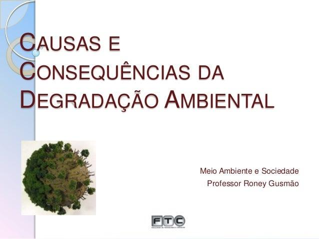 CAUSAS E CONSEQUÊNCIAS DA DEGRADAÇÃO AMBIENTAL Meio Ambiente e Sociedade Professor Roney Gusmão