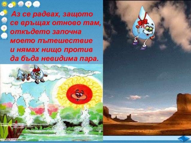 Речник: кръговрат на водата – водата във въздуха се втечнява, пада като дъжд и се влива в морето, откъдето слънцето я изпа...