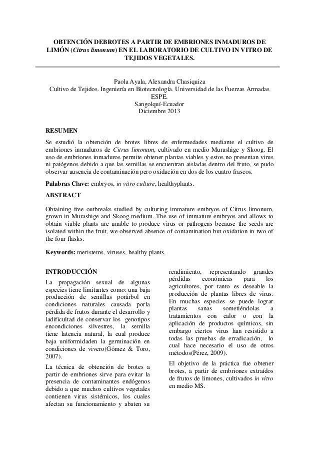 OBTENCIÓN DEBROTES A PARTIR DE EMBRIONES INMADUROS DE LIMÓN (Citrus limonum) EN EL LABORATORIO DE CULTIVO IN VITRO DE TEJI...