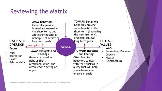 Using the Matrix to Choose Behaviors that Will Move You Toward Your G – Matrix Worksheets