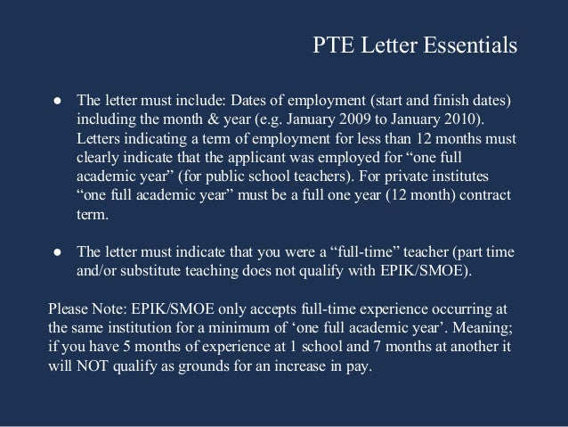 EPIK and SMOE Proof of Teaching Experience Letter - Teaching English …