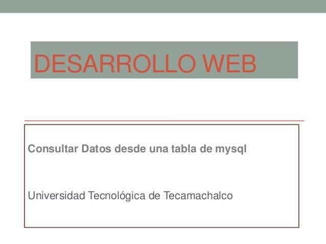 DESARROLLO WEB  Consultar Datos desde una tabla de mysql  Universidad Tecnológica de Tecamachalco