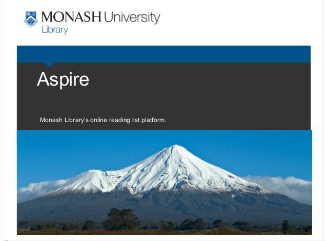 Aspire Monash Library's online reading list platform.