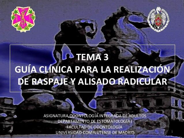 TEMA 3 GUÍA CLÍNICA PARA LA REALIZACIÓN DE RASPAJE Y ALISADO RADICULAR ASIGNATURA ODONTOLOGÍA INTEGRADA DE ADULTOS DEPARTA...