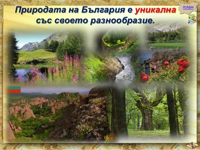 Особено красиви са скалните природни забележителности.  план  Такива са:  Величественият Искърски пролом в Стара планина