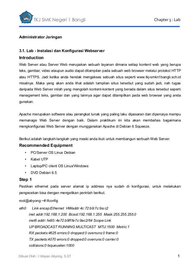 TKJ SMK Negeri 1 Bangli  Chapter 3 : Lab  Administrator Jaringan 3.1. Lab - Instalasi dan Konfigurasi Webserver  Introduct...