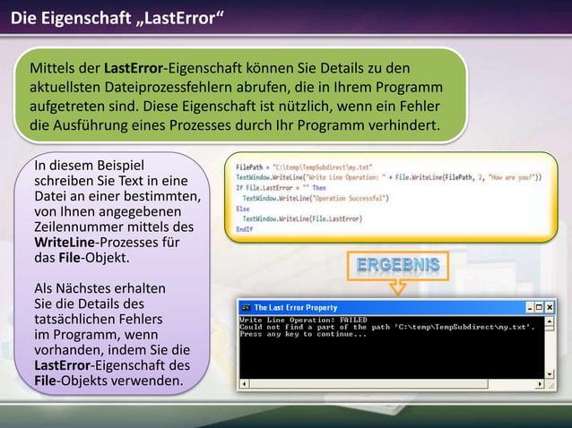 """Die Eigenschaft """"LastError"""" Mittels der LastError-Eigenschaft können Sie Details zu den aktuellsten Dateiprozessfehlern ab..."""