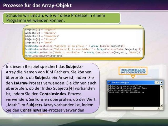 Prozesse für das Array-Objekt Schauen wir uns an, wie wir diese Prozesse in einem Programm verwenden können.  In diesem Be...