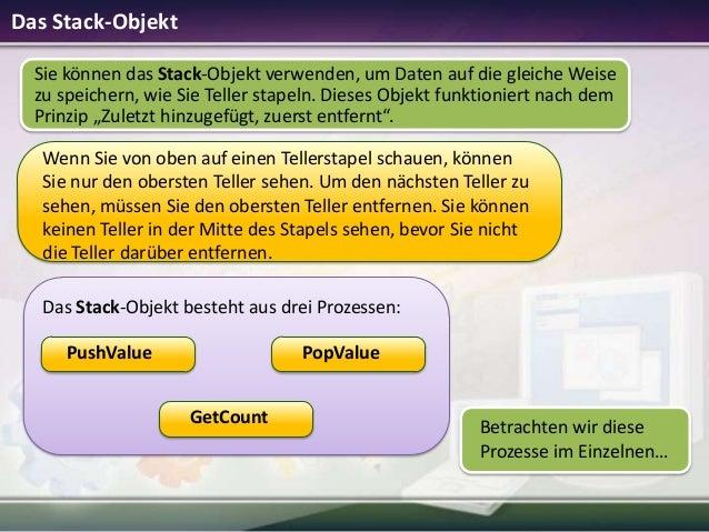 Das Stack-Objekt Sie können das Stack-Objekt verwenden, um Daten auf die gleiche Weise zu speichern, wie Sie Teller stapel...