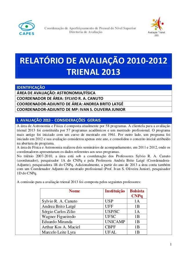 Coordenação de Aperfeiçoamento de Pessoal de Nível Superior Diretoria de Avaliação  RELATÓRIO DE AVALIAÇÃO 2010-2012 TRIEN...