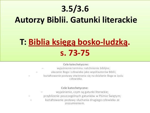 35 Oraz 36 Autorzy Pisma św Gatunki Literackie