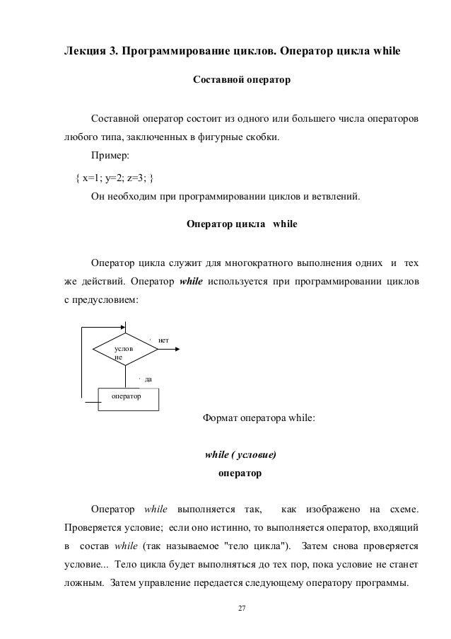 Лекция 3. Программирование циклов. Оператор цикла while Составной оператор  Составной оператор состоит из одного или больш...