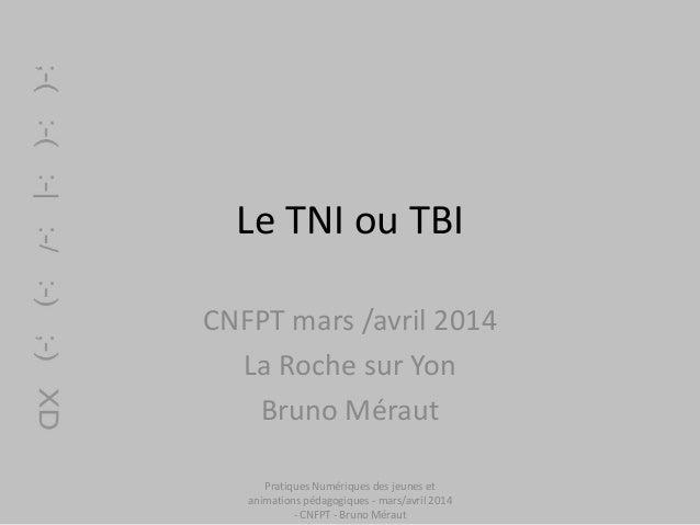 Le TNI ou TBI CNFPT mars /avril 2014 La Roche sur Yon Bruno Méraut Pratiques Numériques des jeunes et animations pédagogiq...