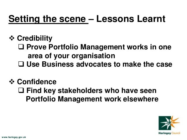 Portfolio management: creating initial building blocks